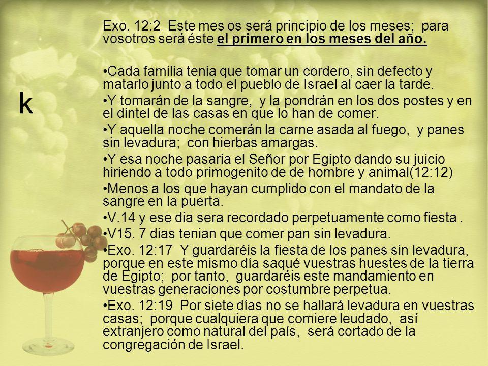 k Exo. 12:2 Este mes os será principio de los meses; para vosotros será éste el primero en los meses del año.