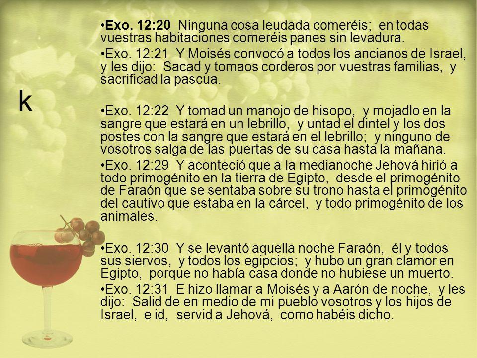 k Exo. 12:20 Ninguna cosa leudada comeréis; en todas vuestras habitaciones comeréis panes sin levadura.