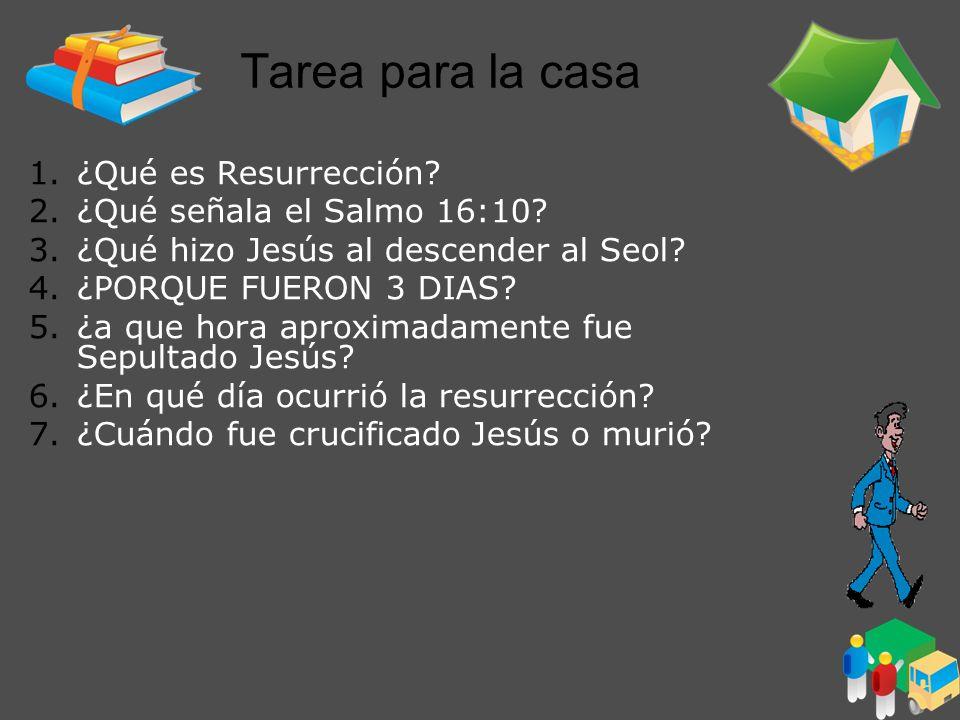 Tarea para la casa ¿Qué es Resurrección ¿Qué señala el Salmo 16:10