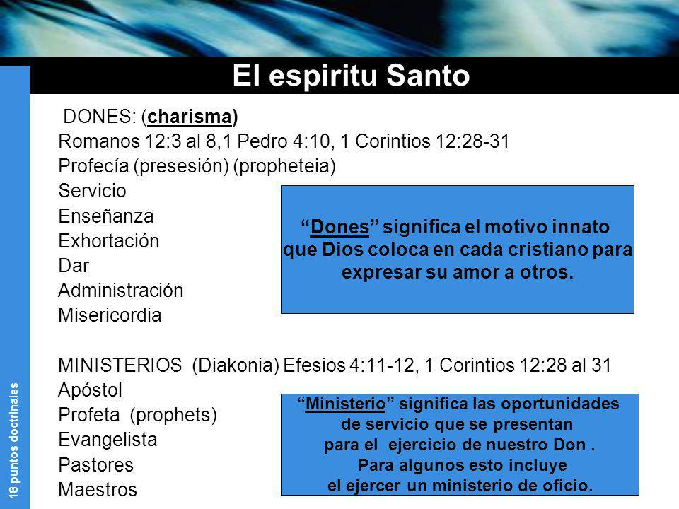 El espiritu Santo DONES: (charisma)