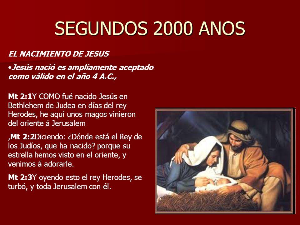 SEGUNDOS 2000 ANOS EL NACIMIENTO DE JESUS