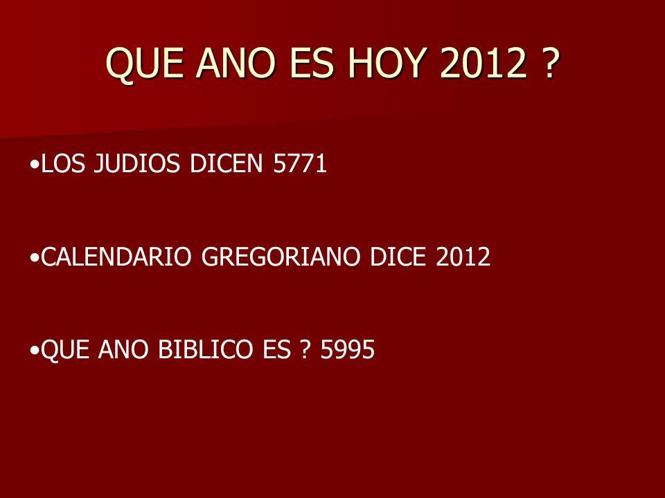 QUE ANO ES HOY 2012 LOS JUDIOS DICEN 5771