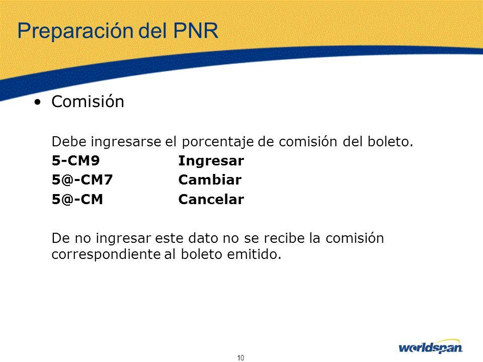 Preparación del PNR Comisión