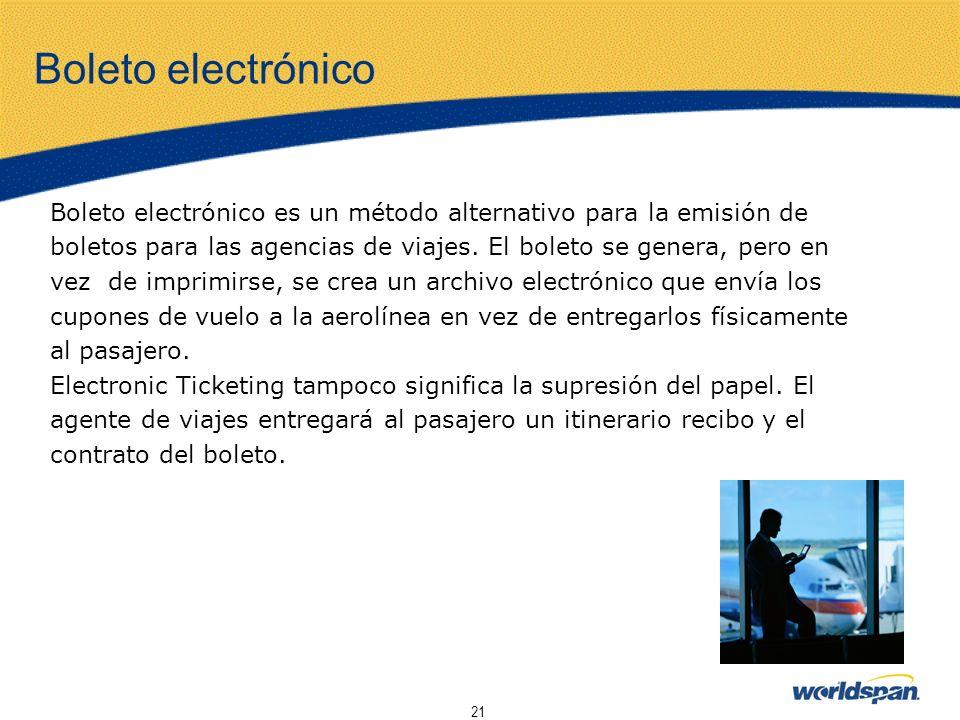Boleto electrónico Boleto electrónico es un método alternativo para la emisión de. boletos para las agencias de viajes. El boleto se genera, pero en.