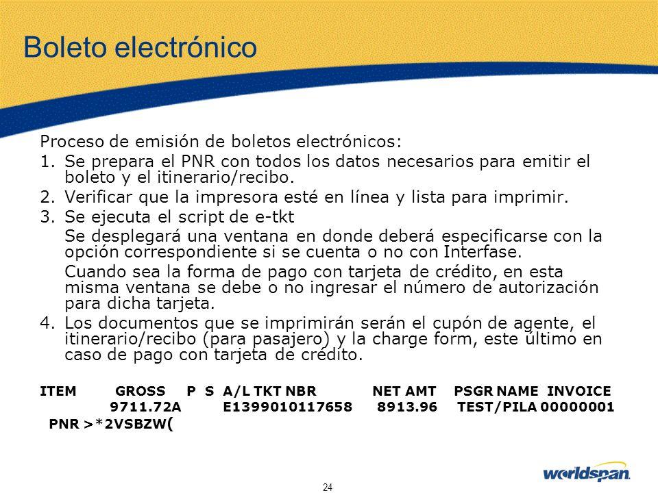 Boleto electrónico Proceso de emisión de boletos electrónicos: