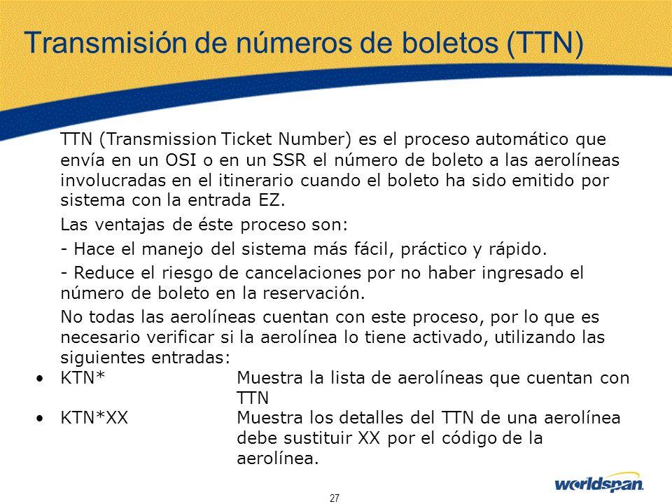 Transmisión de números de boletos (TTN)