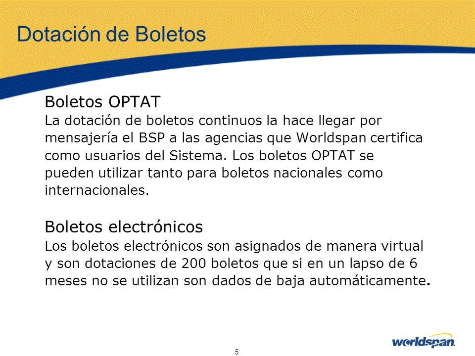 Dotación de Boletos Boletos OPTAT Boletos electrónicos