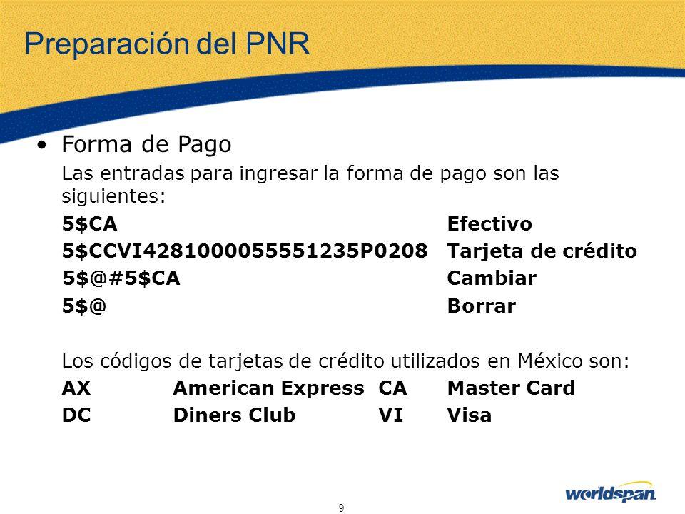 Preparación del PNR Forma de Pago