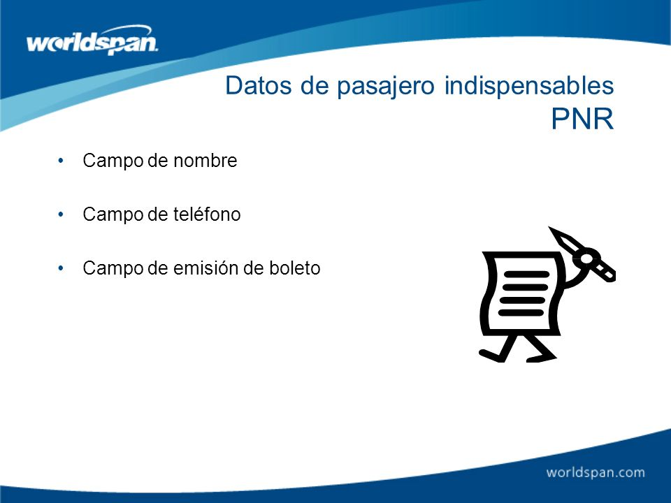 Datos de pasajero indispensables PNR