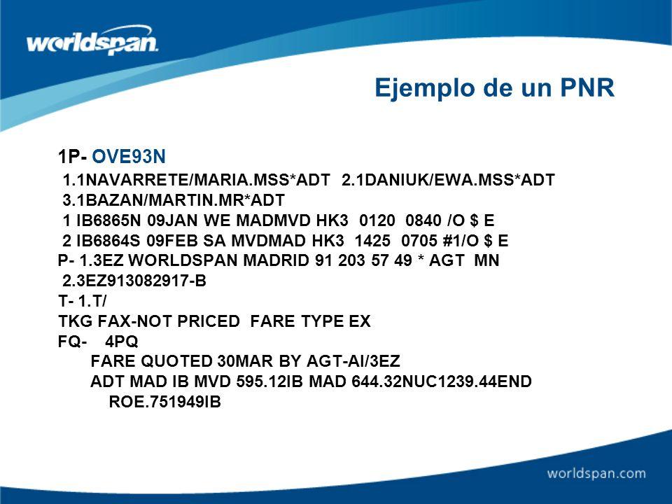 Ejemplo de un PNR 1P- OVE93N