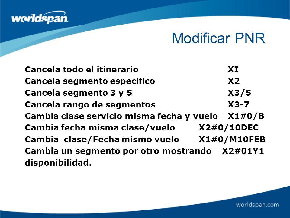 Modificar PNR Cancela todo el itinerario XI
