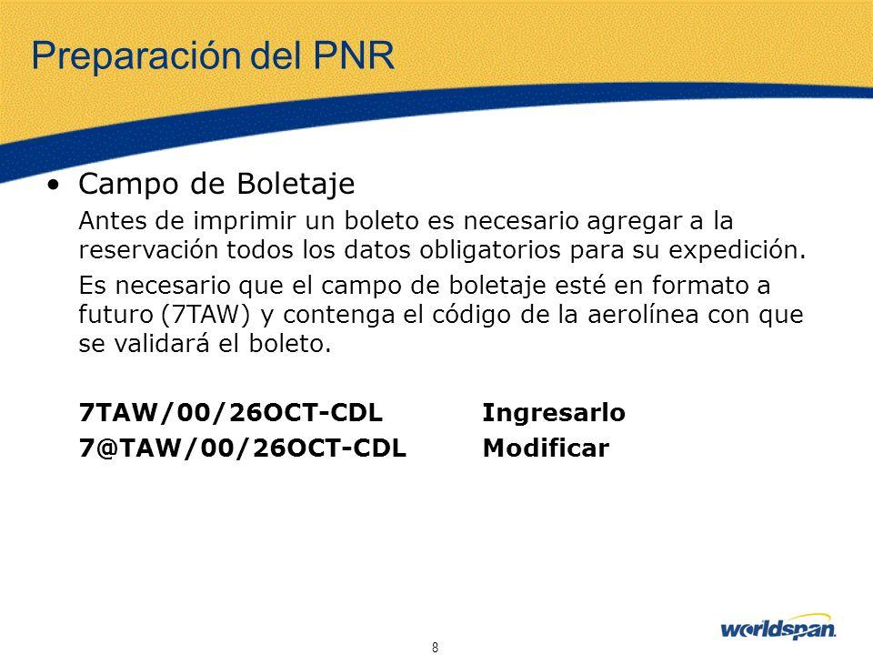 Preparación del PNR Campo de Boletaje