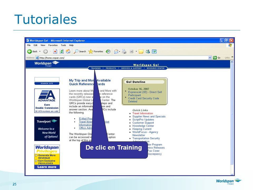Tutoriales De clic en Training