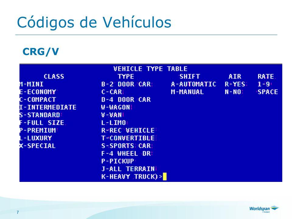 Códigos de Vehículos CRG/V