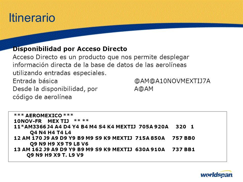 Itinerario Disponibilidad por Acceso Directo