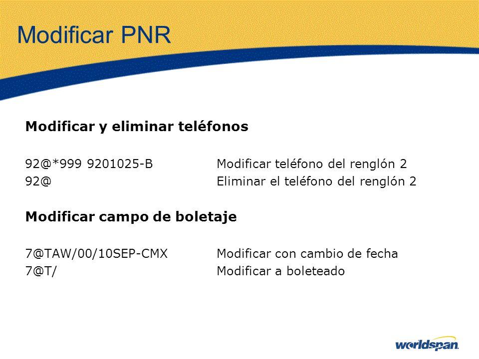 Modificar PNR Modificar y eliminar teléfonos