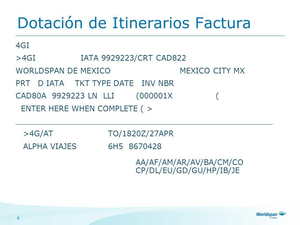 Dotación de Itinerarios Factura