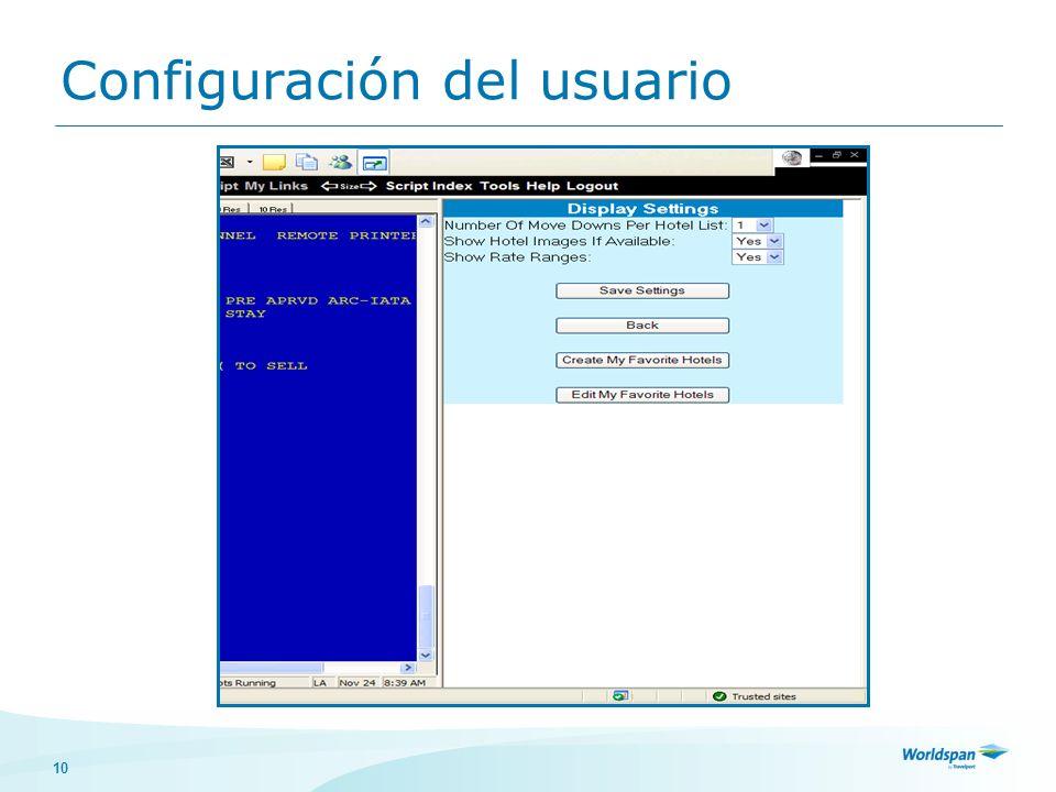 Configuración del usuario