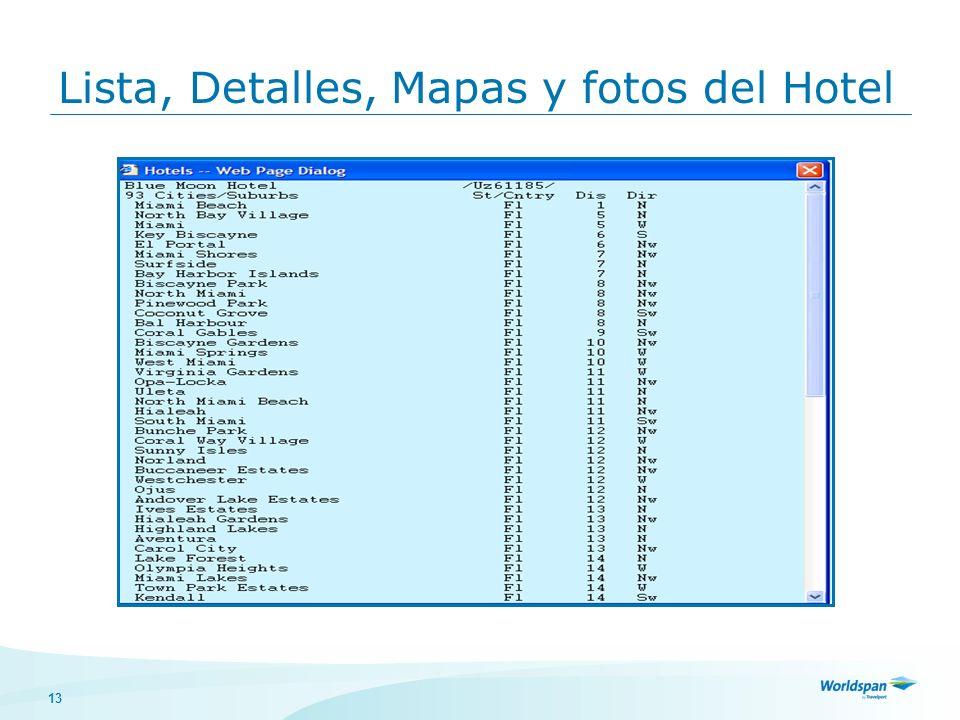 Lista, Detalles, Mapas y fotos del Hotel