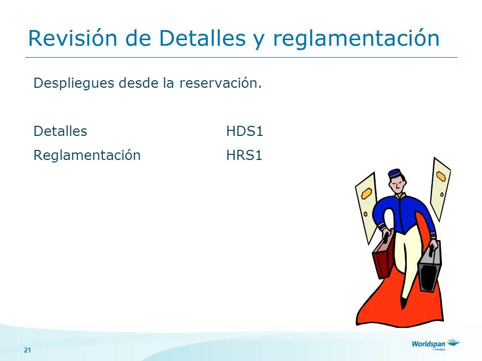 Revisión de Detalles y reglamentación
