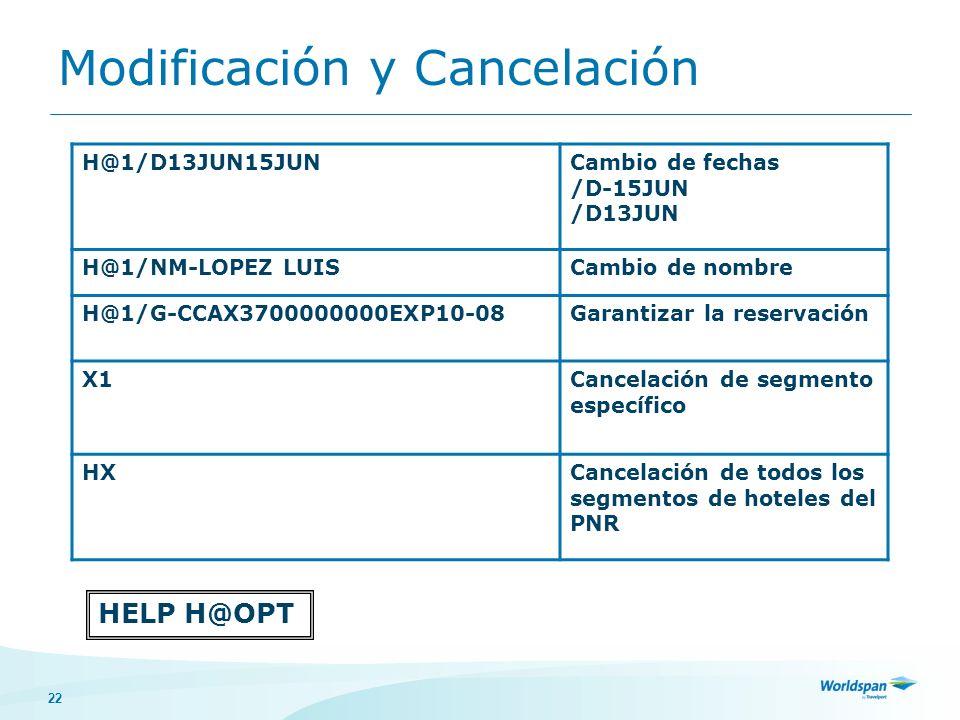 Modificación y Cancelación