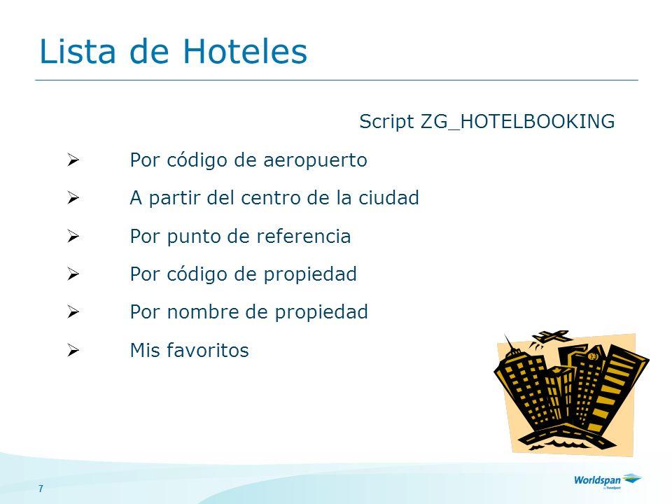 Lista de Hoteles Script ZG_HOTELBOOKING Por código de aeropuerto