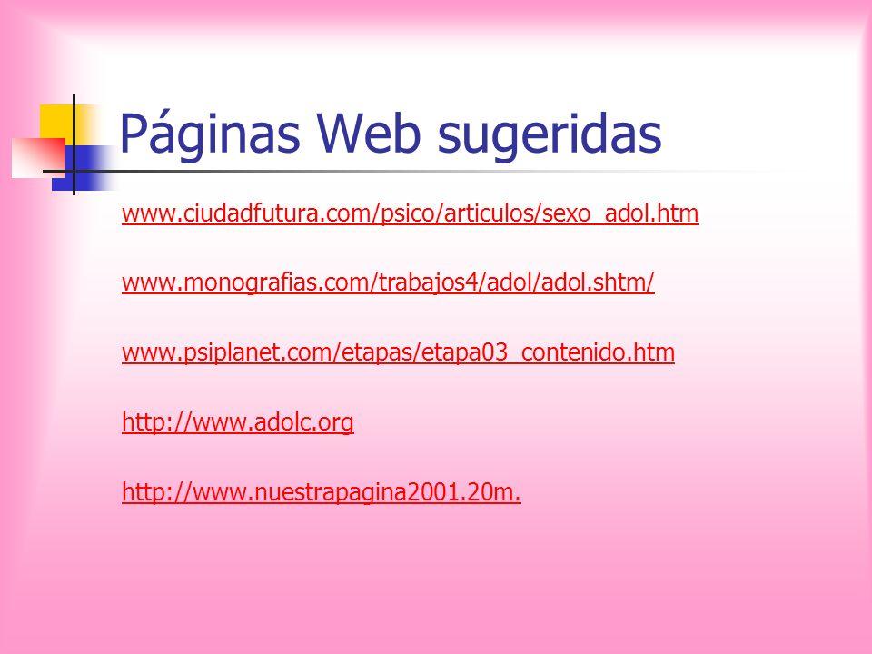 Páginas Web sugeridas www.ciudadfutura.com/psico/articulos/sexo_adol.htm. www.monografias.com/trabajos4/adol/adol.shtm/