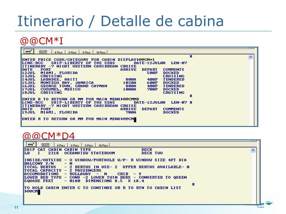 Itinerario / Detalle de cabina