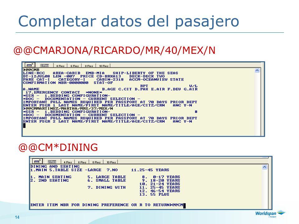 Completar datos del pasajero