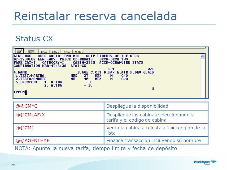 Reinstalar reserva cancelada