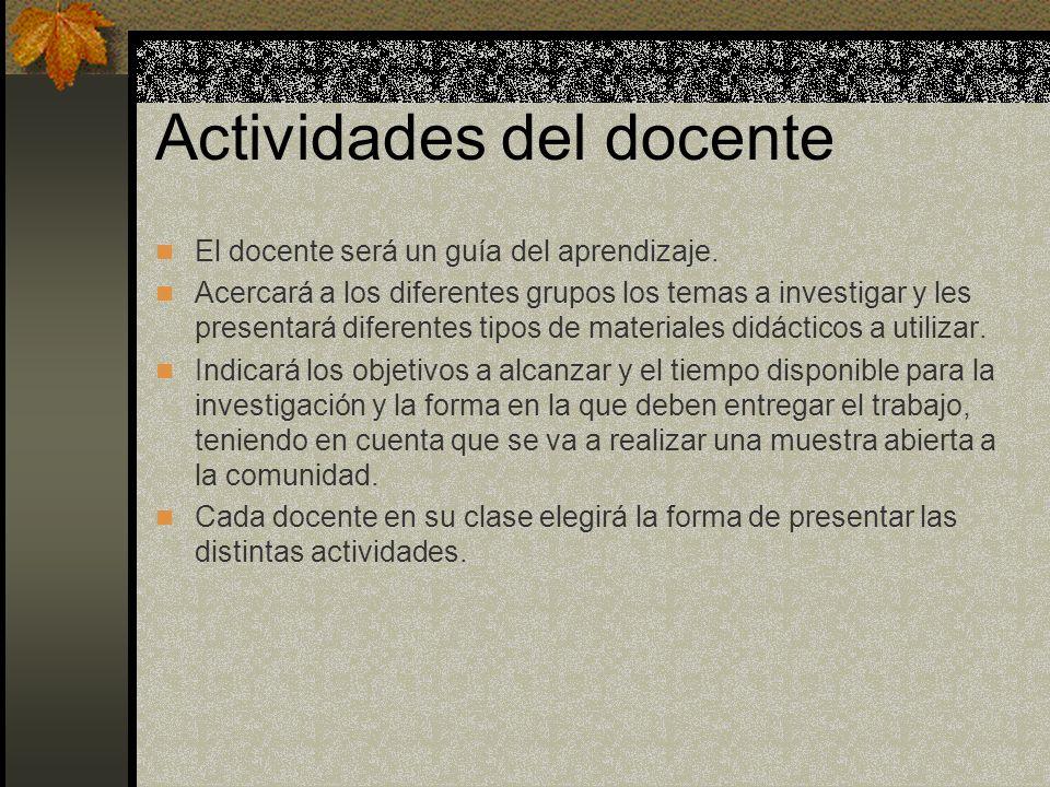 Actividades del docente