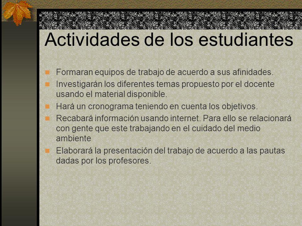 Actividades de los estudiantes