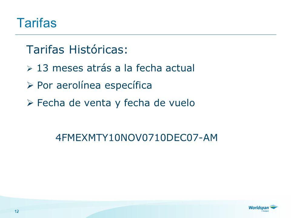 Tarifas Tarifas Históricas: Por aerolínea específica