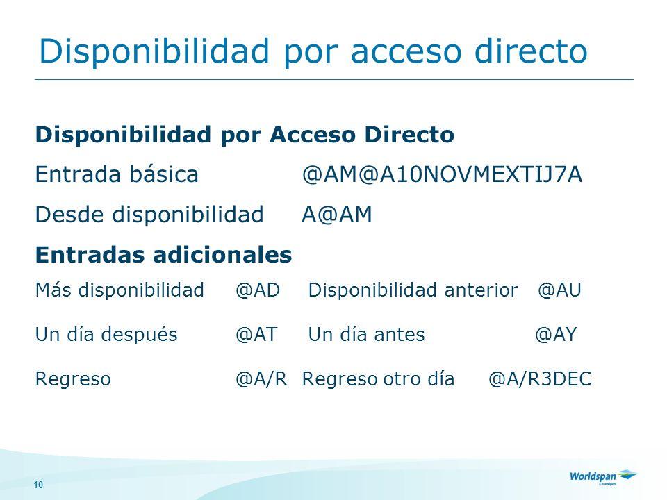 Disponibilidad por acceso directo