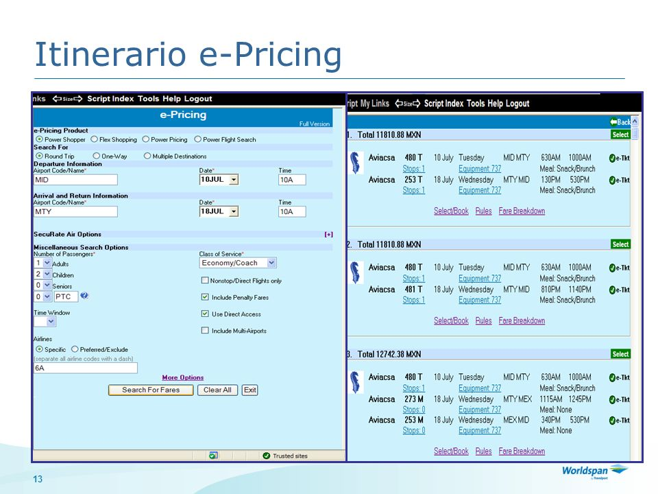Itinerario e-Pricing