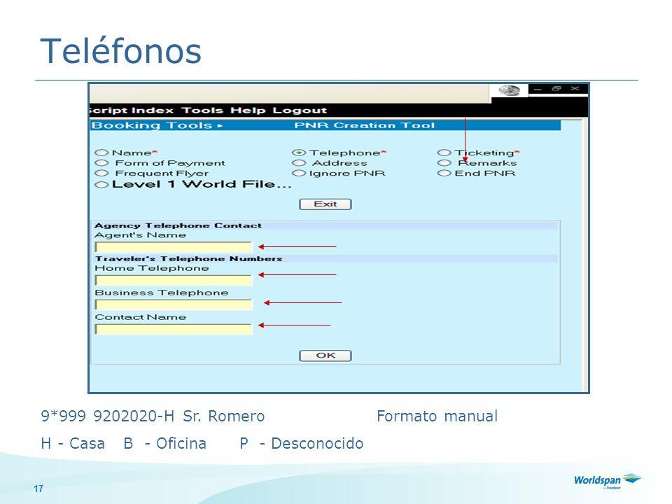 Teléfonos 9*999 9202020-H Sr. Romero Formato manual