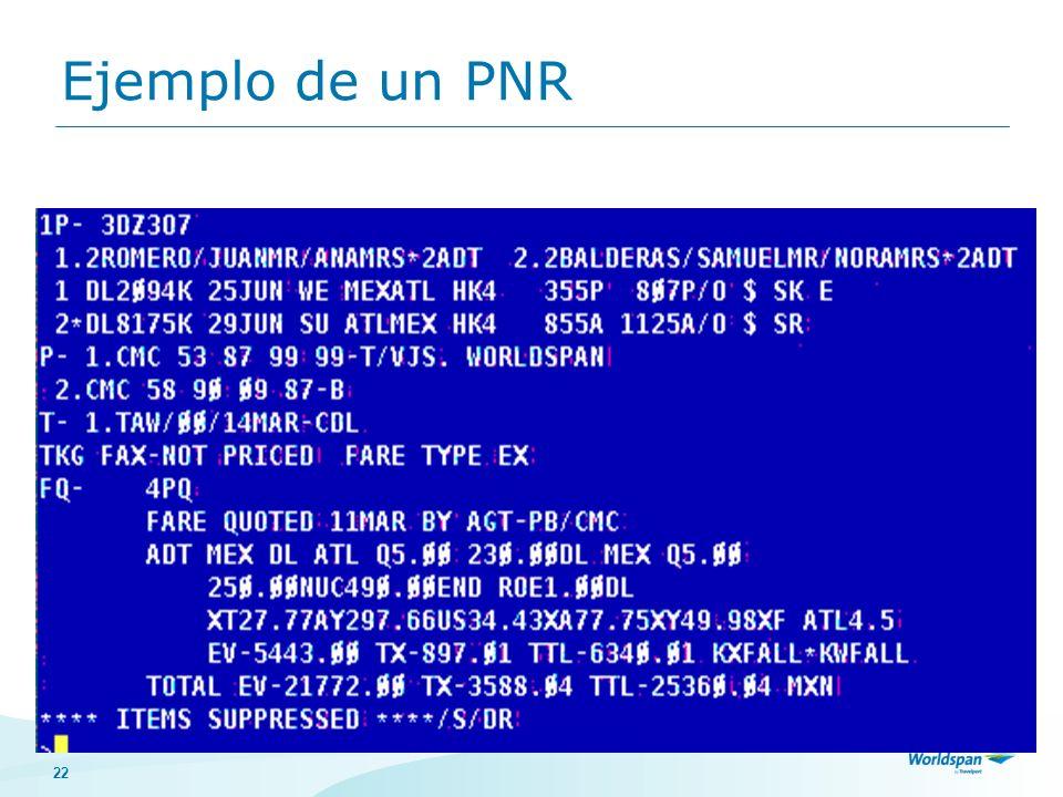 Ejemplo de un PNR