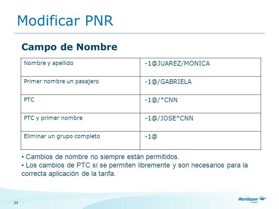 Modificar PNR Campo de Nombre
