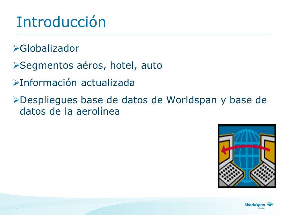 Introducción Globalizador Segmentos aéros, hotel, auto