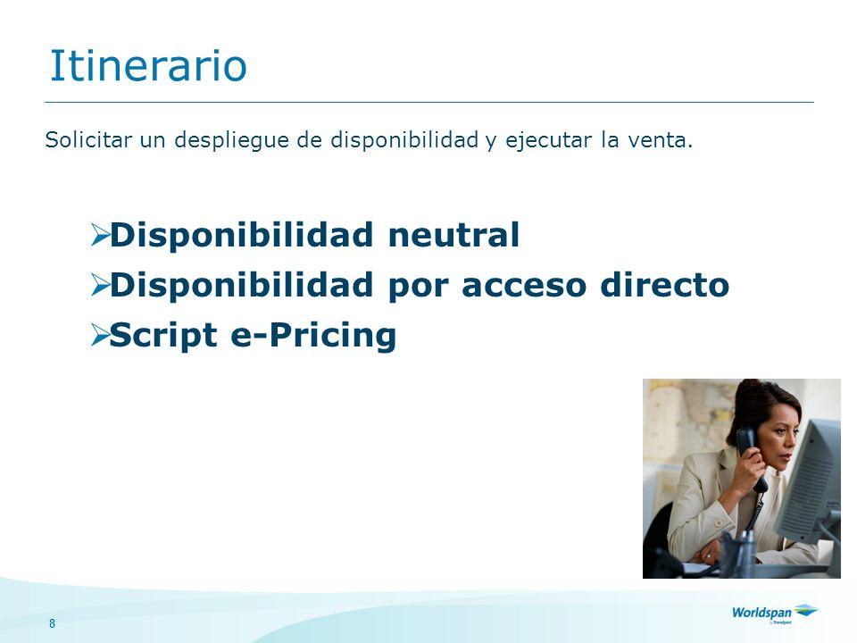 Itinerario Disponibilidad neutral Disponibilidad por acceso directo