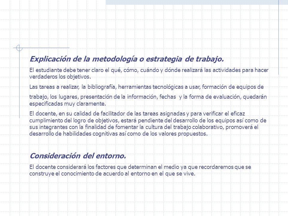 Explicación de la metodología o estrategia de trabajo.