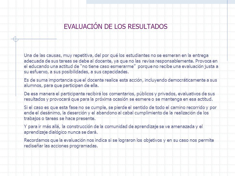 EVALUACIÓN DE LOS RESULTADOS