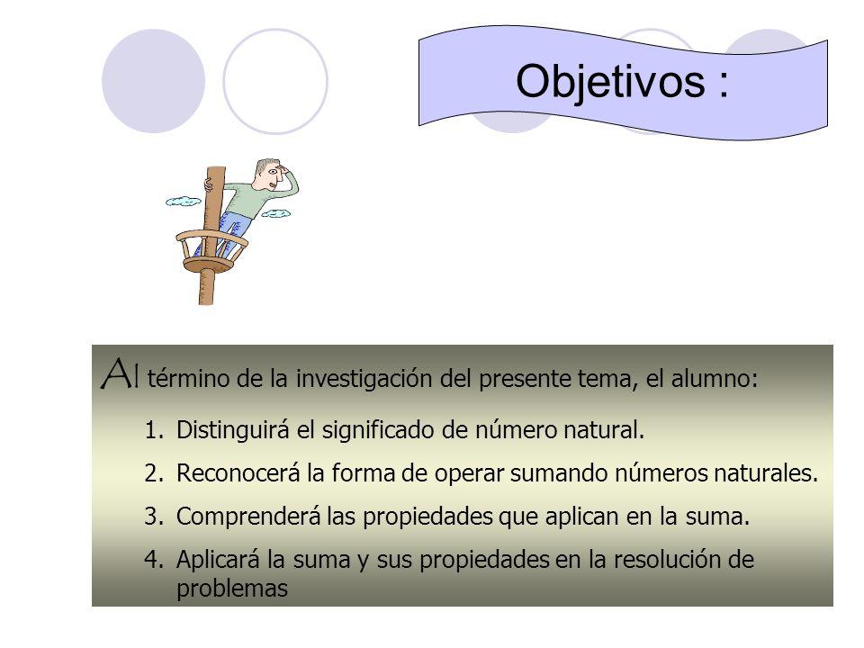 Objetivos :Al término de la investigación del presente tema, el alumno: Distinguirá el significado de número natural.