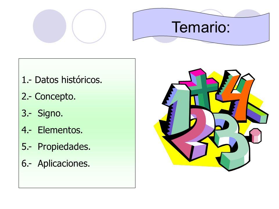 Temario: 1.- Datos históricos. 2.- Concepto. 3.- Signo. 4.- Elementos.
