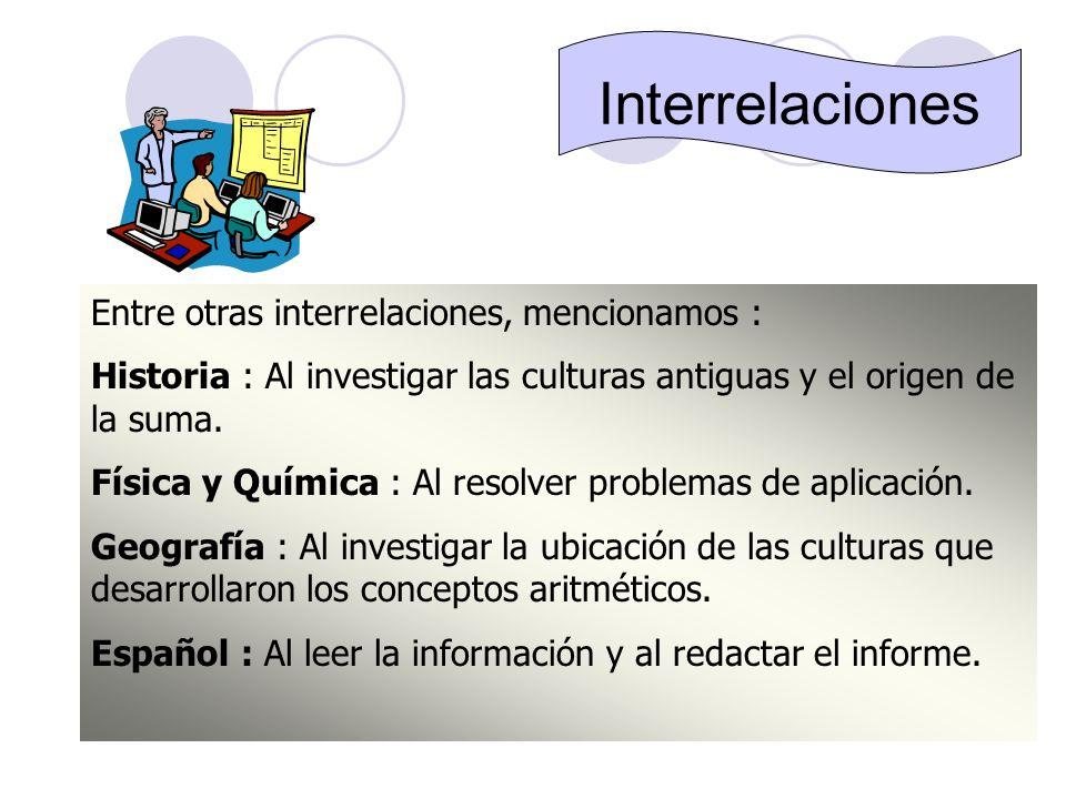 Interrelaciones Entre otras interrelaciones, mencionamos :