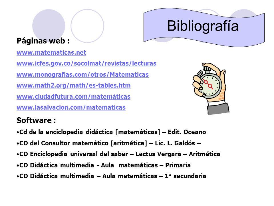 Bibliografía Páginas web : Software : www.matematicas.net
