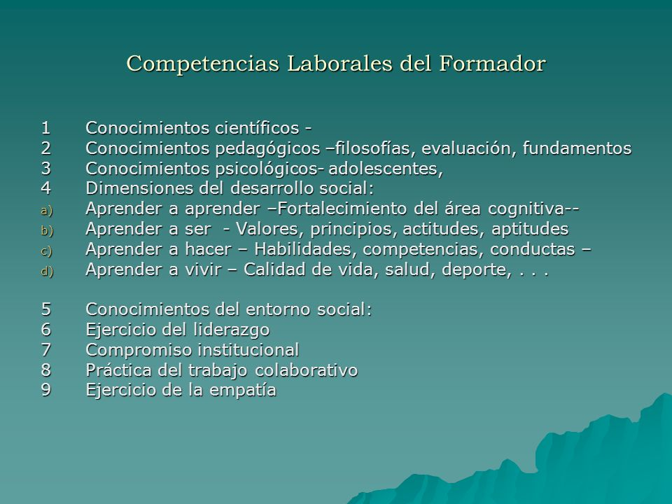 Competencias Laborales del Formador