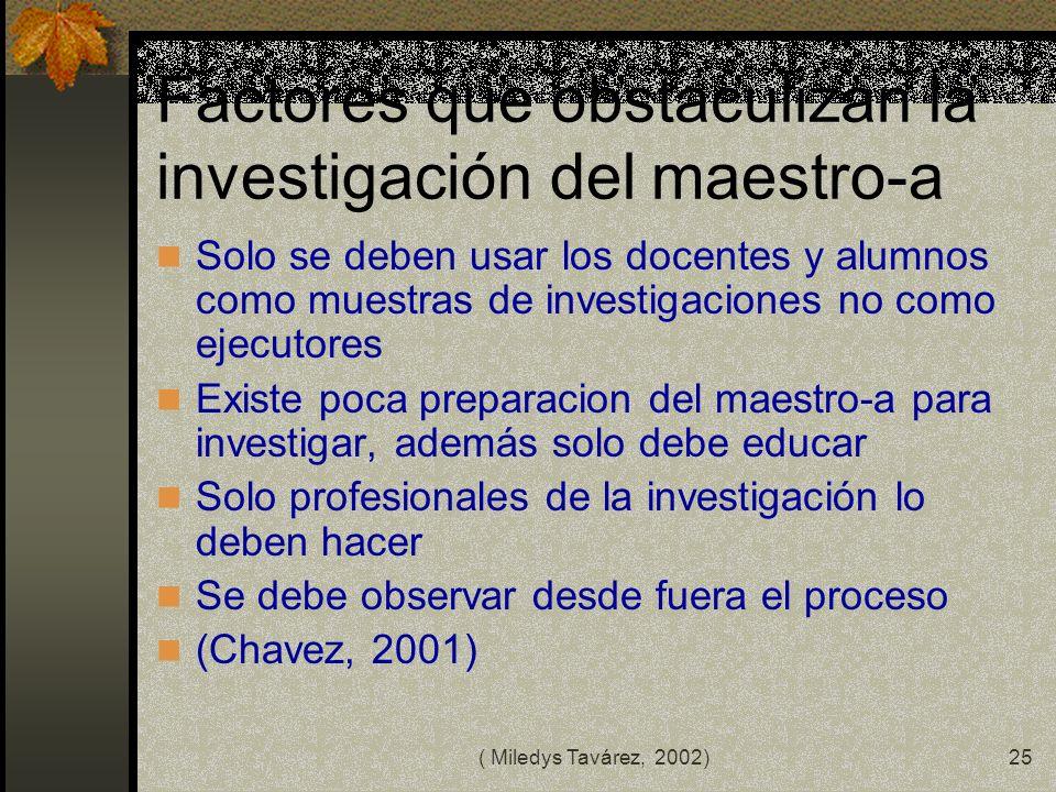 Factores que obstaculizan la investigación del maestro-a