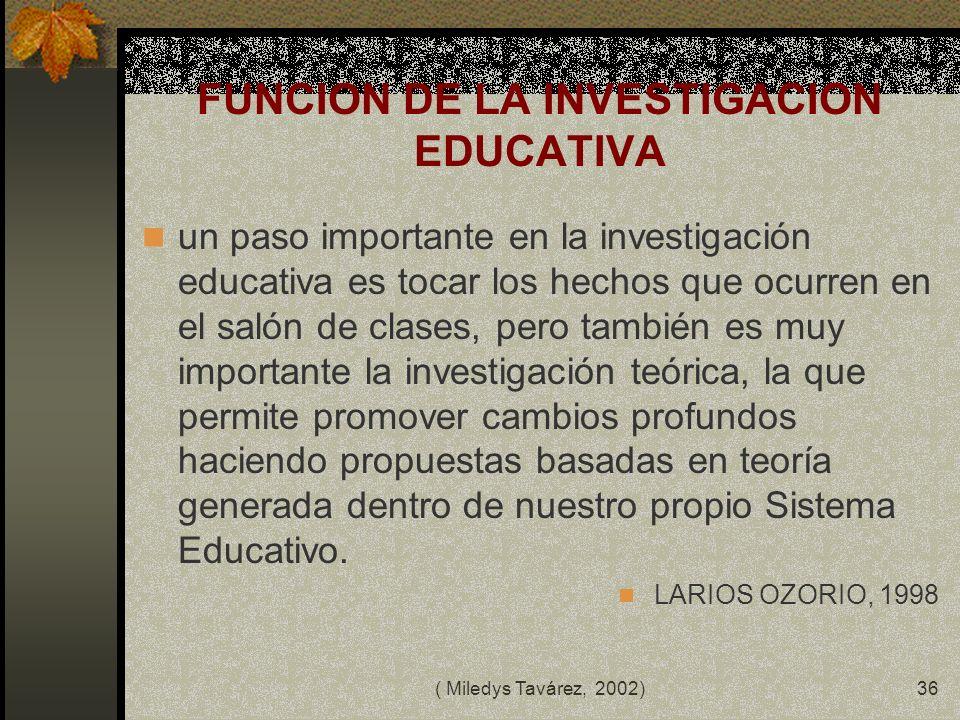 FUNCION DE LA INVESTIGACION EDUCATIVA