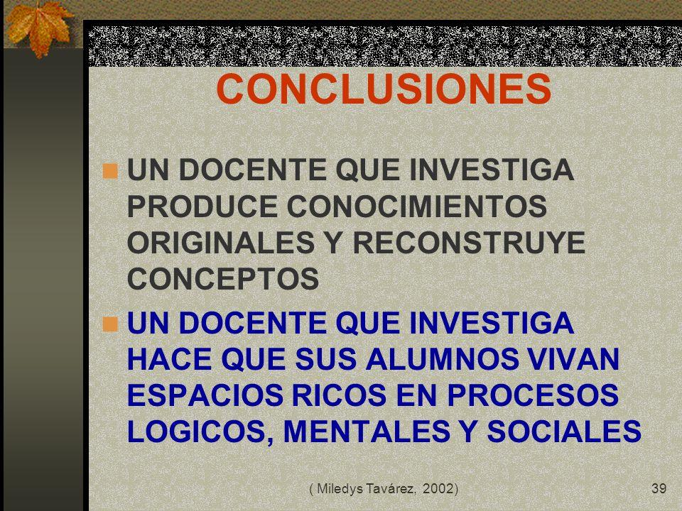 CONCLUSIONES UN DOCENTE QUE INVESTIGA PRODUCE CONOCIMIENTOS ORIGINALES Y RECONSTRUYE CONCEPTOS.